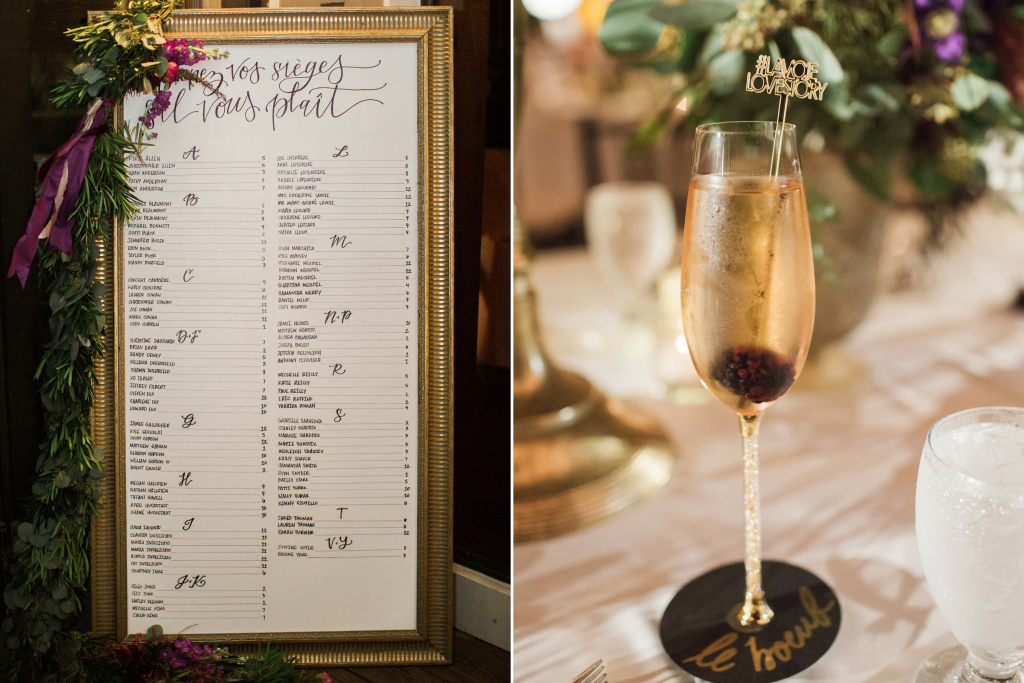 wedding details, seating chart, champagne flute