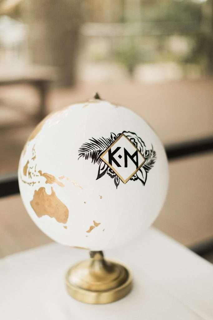 wedding details, custom globe, hand painted globe