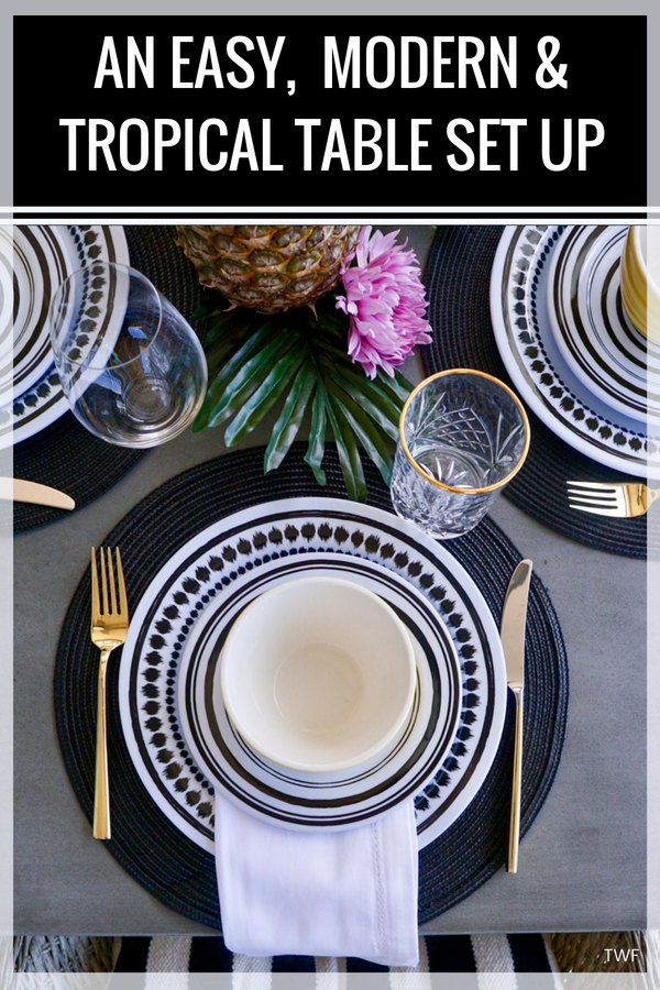 An Easy, Modern & Tropical Table Set Up // tropical bridal shower, tropical summer party, tropical baby shower, tropical table setting, budget-friendly table set up, modern and tropical, table inspiration, tropical table inspo, #tablesetting #inspiration #lifestyleblog
