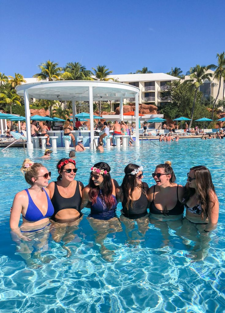 Atlantis bachelorette party in the pool