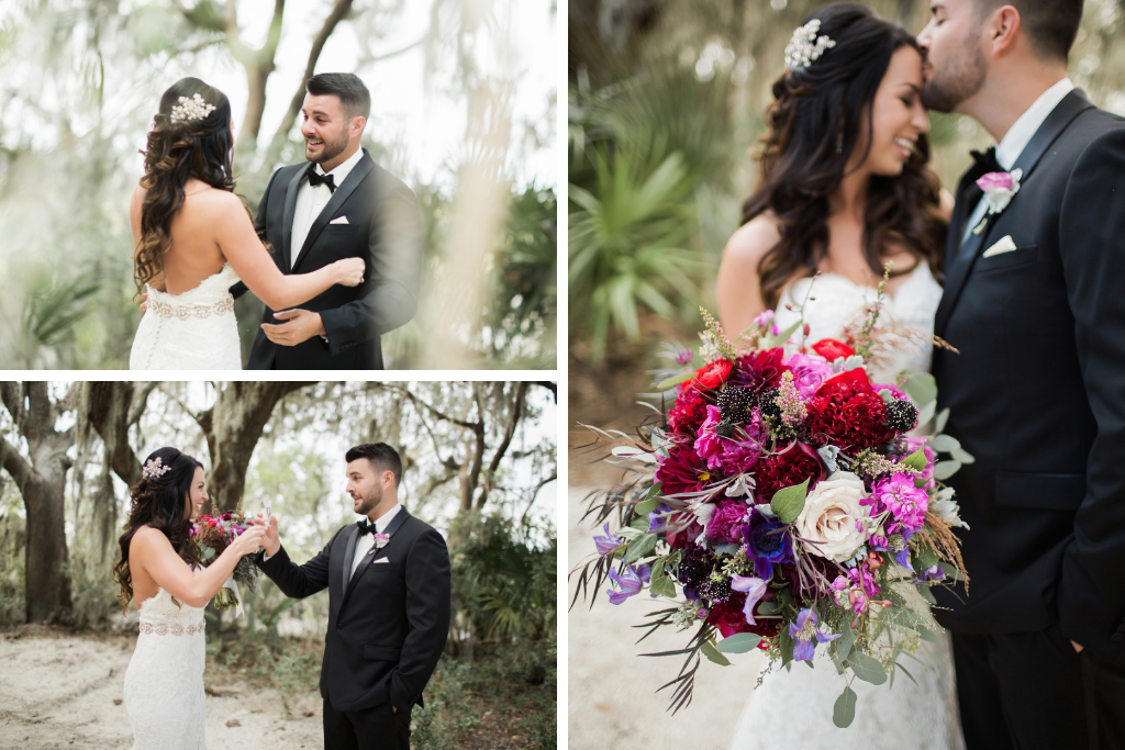 First Look at a Florida Fall Wedding, Tequila shots at First Look, First Look Inspo