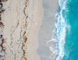Drone shot of the beach in Jupiter, Florida