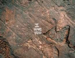 I love you written on rock