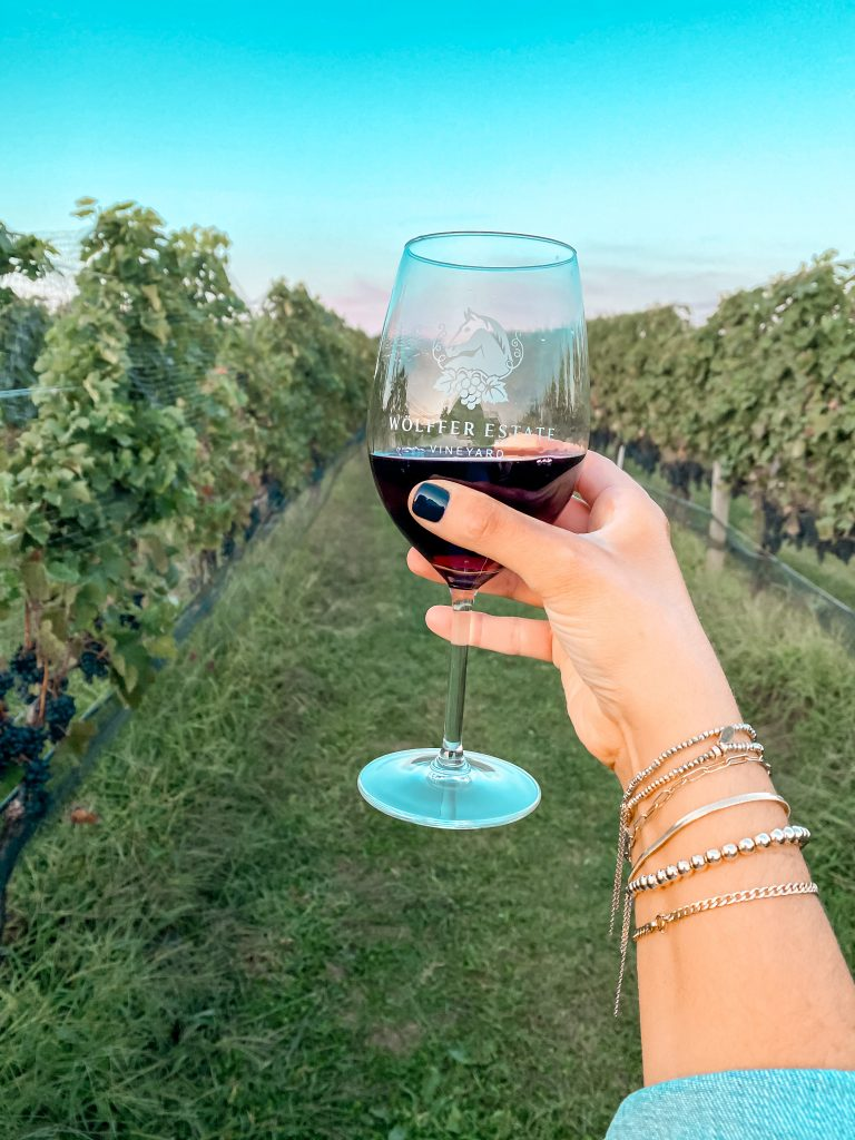 Wine glass at Wolffer Estate Vineyard
