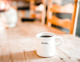 Coffee Mug with the word 'Begin'